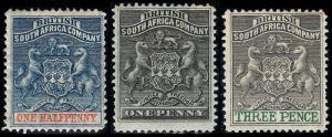Rhodesia  Scott 1-2, 4 (1890-94) Mint H F-VF, CV $35.75