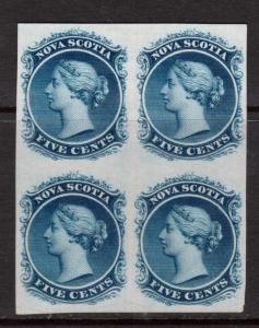 Nova Scotia #10P VF Plate Proof Block On India Paper
