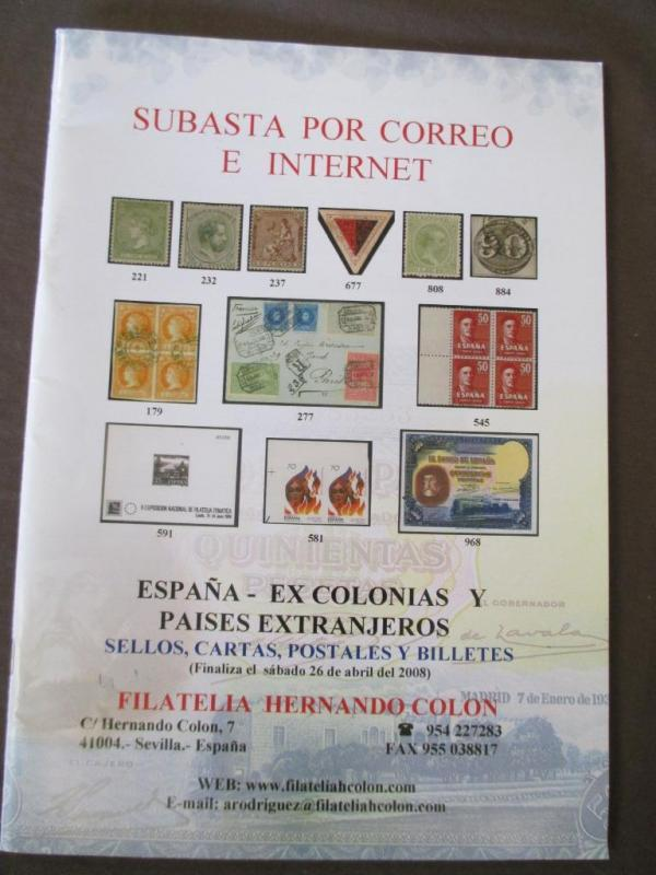 April, 2008 Subasta Philatelic Mail Auction Catalog - Very Nice -See Scans (M44)