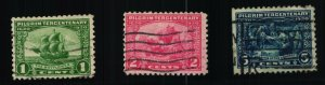 Scott #548-550 VF - Pilgrim Tercentenary Issue - Used - 1920
