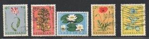 Netherlands Sc B343-47 1960 Flowers Child Welfare stamp set used