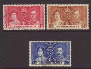 1937 Leeward Is Coronation Set Fine-Used SG92/94.
