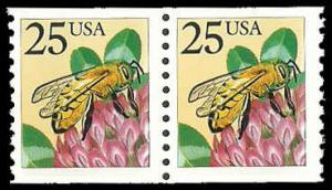 PCBstamps     US #2281f Coil Pair 50c(2x25c)Honeybee, large block tag, MNH, (3)