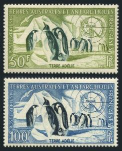 FSAT C1-C2,lightly hinged.Michel 8-9. Emperor Penguins,Map.1956.