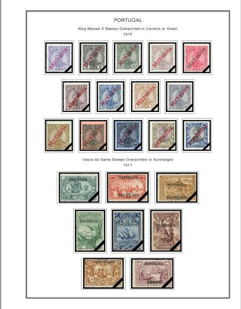 COLOR PRINTED PORTUGAL [CLASS] 1853-1941 STAMP ALBUM PAGES (58 illustr. pages)