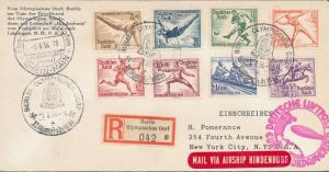 1936 Germany Hindenburg Zeppelin Olympics Cover to USA LZ 129 comp set # B82-B89
