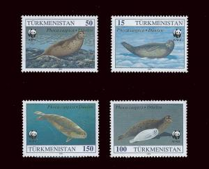 Turkmenistan – WWF & Caspian Seal – 4 Stamp Set 20D-110