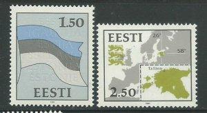 1991 Estonia Scott Catalog Numbers 209-210 Unused Never Hinged