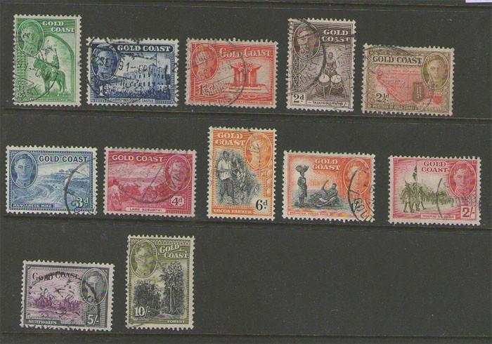 Gold Coast 1948 KGVI set SG 135-146 FU