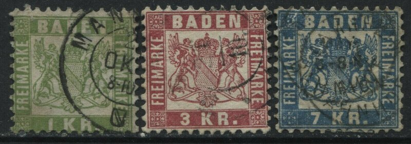 Baden 1868 1, 3, and 7 kreuzers used