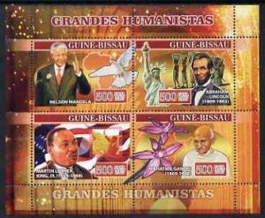 Guinea-Bissau MNH S/S Humanitarians Lincoln Mandela Gandhi King 2007 4 Stamps