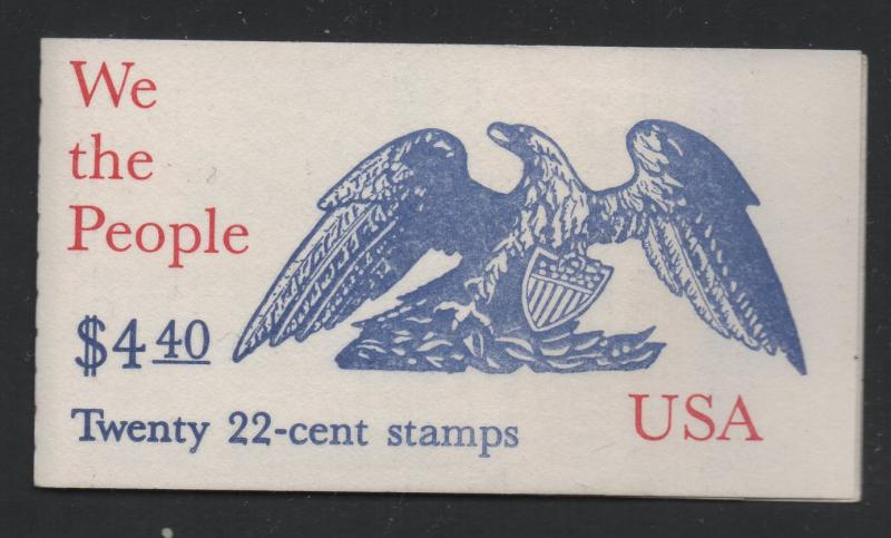 US United States 1987 We The People 22c Stamp Booklet Scott BK162 22 Stamps MNH