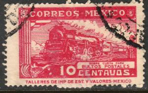 MEXICO Q5, 10cents PARCEL POST, STEAM ENGINE. USED. F-VF (1470)