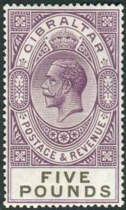 GIBRALTAR-1925-32 £5 Violet & Black.  A lightly mounted mint example Sg 108