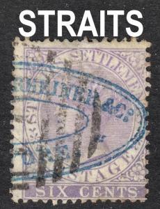 Malaya Straits Settlements Scott 12  wtmk CC  F+  used.
