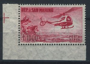 San Marino 1961, Airmail, aviation, helicopter 1000L MNH