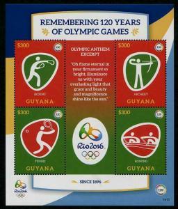 HERRICKSTAMP NEW ISSUES GUYANA Sc.# 4478 Rio 2016 Olympics Sheetlet