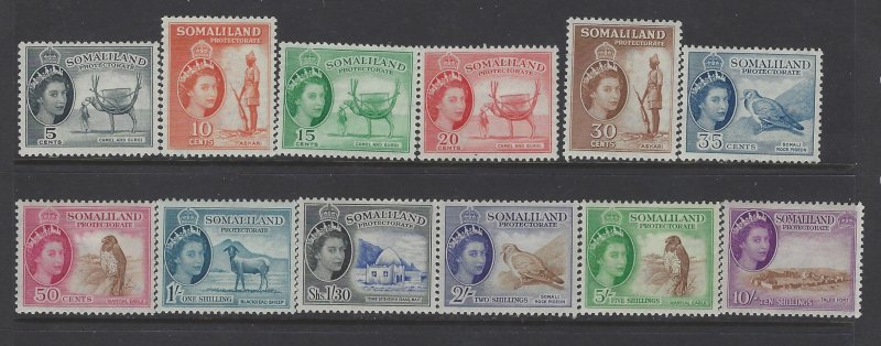 Somaliland Protectorate, Scott #128-139; Queen Elizabeth II Issues, MH