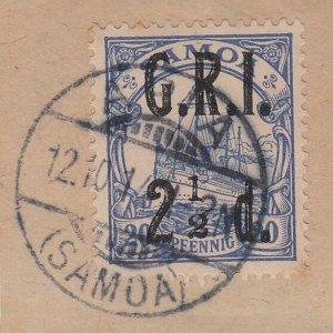 SAMOA 1914 GRI opt on German Samoa : 2½d used on piece Apia cds.............C478