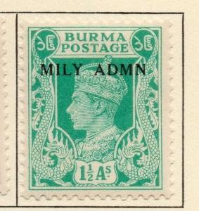 Burma 1945 Early Issue Fine Mint Hinged 1.5a. Optd 052116