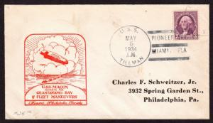 $Florida Machine Cancel Cover, Pioneer Bay-Miami, 5/5/1934