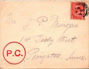 Edinburgh > Tidy St Brighton UK 1914 PC stamp cover