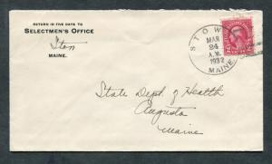 Postal History - Stow ME 1932 Black 4c-Bar Cancel Selectmen's Office Cover B0358