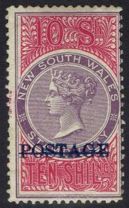 NEW SOUTH WALES 1894 QV POSTAGE OVERPRINTED 10/- VIOLET & ROSINE PERF 11