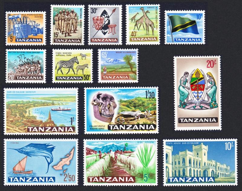 Tanzania Giraffe Zebra Fish Definitives 1st Issue 14v SG#128-141 SC#5-18 MI#5-18