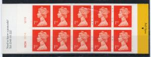 GB  1990 HD4 with cly no. Booklet 10x1st class  MNH