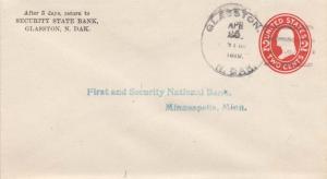 United States North Dakota Glasston 1916 4b-bar  Postal Stationery Envelope  ...