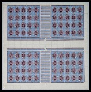 Sg 307a Spec M41(5) 9d Deep Plum & Blue complete sheet of 80 UNMOUNTED MINT