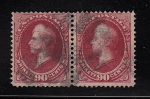 1873  90¢ Sc 166 used PAIR  F-VF with Certificate