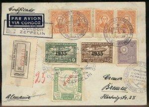 Paraguay 1935 Graf Zeppelin 3.SAF Si298 Germany Cover 98883