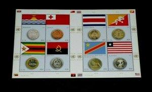 U.N. 2015, NEW YORK #1022, FLAG & COIN ISSUE, MNH, SHEET/8, NICE LQQK