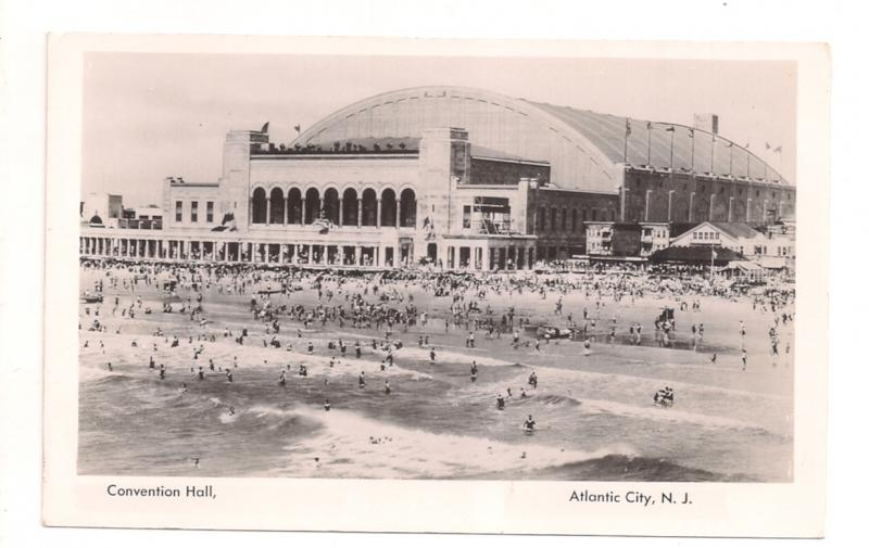 Atlantic City NJ white border RPPC CONVENTION HALL Mint 1930s Nice!