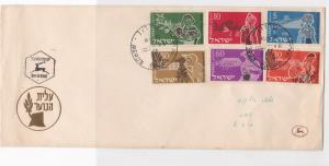 israel 1955 assorted travel pottery sheep & others stamps cover ref 21510