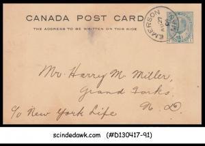 CANADA - 1904 1c KEDVII POSTCARD to NEW YORK USA