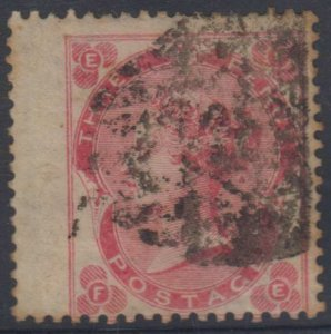 GREAT BRITAIN 1862 QV Sc 37a DEEP ROSE JUMBO SINGLE, USED SCV$525.00