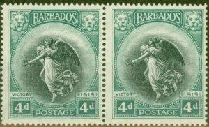 Barbados 1920 4d Black & Blue-Green SG207 V.F LMM Pair