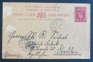 1904 St George Grenada Postal Stationery Postcard Cover To Germany