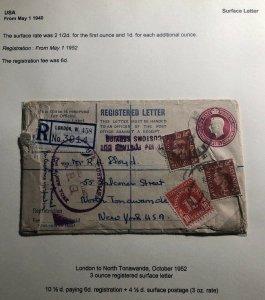 1952 London England Registered Postage Due Cover To North Tonawanda USA
