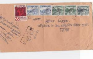bangladesh early  overprint stamps on commercial stamps cover ref r15583