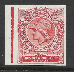 1910 DLR Minerva Head Colour Trial in Carmine on gummed paper UNMOUNTED MINT
