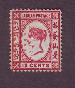 J15081 JLstamps 1880-82 labuan used #9 hv wmk 1 crown cc victoria $400.00 scv