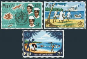 Fiji 257-259,MNH.Michel 229-231. WHO 20th Ann.1968.Map,Medical Ship,Nurses.
