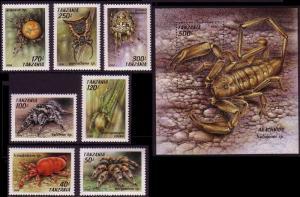 Tanzania Arachnids 7v+MS SG#1830-MS1837 MI#1798-1804+Block 255