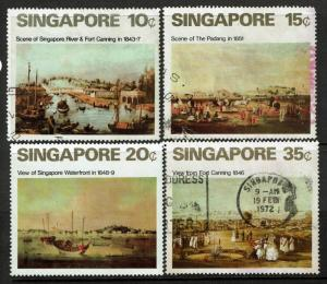 Singapore SC# 144-147, Used, 146 Mint Never Hinged, 145 bottom tear - S967