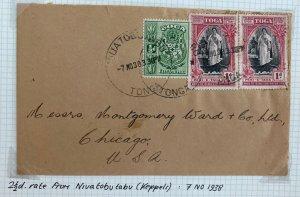 1938 Niuatobutabu Tonga Toga Cover to Chicago IL Usa