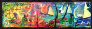 COCOS ISLAND 330 MH STRIP/5 SCV $4.75 BIN $2.00 ART, BOATS & PEOPLE